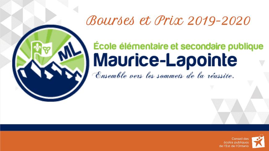 Bourses et prix 2019-2020 Maurice Lapointe